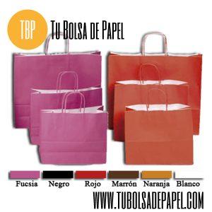 Bolsas de papel celulosa apaisadas con el asa retorcida