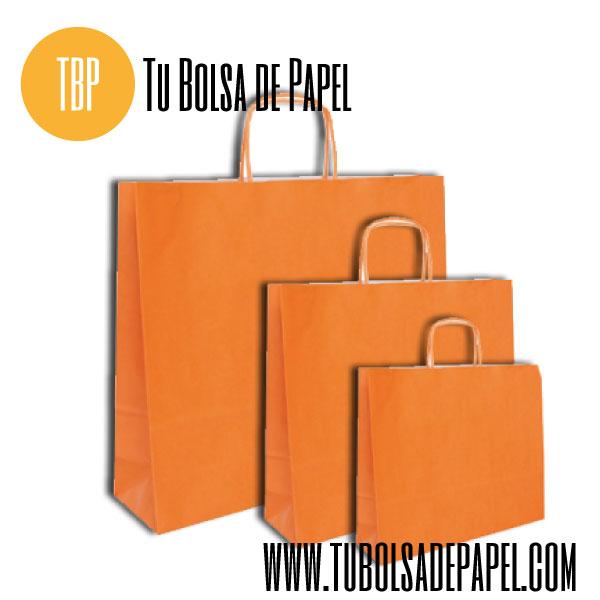 ca3e3b56b Bolsas de papel celulosa apaisadas con el asa retorcida naranja