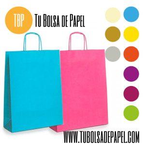 Bolsas de papel con el asa retorcida colores papel verjurado