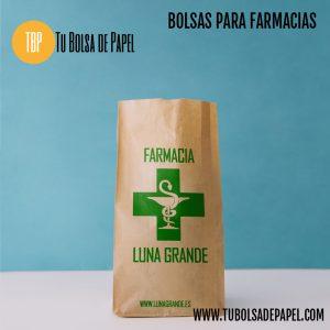 bolsa de papel personalizada para farmacia de papel tipo sobre kraft