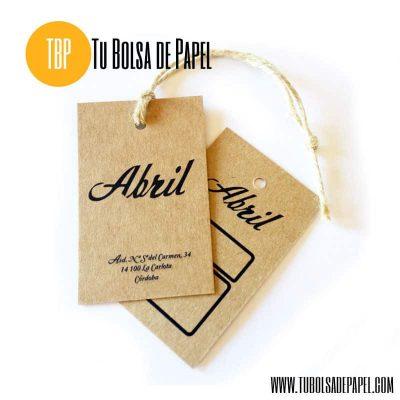 etiquetas colgantes en papel kraft personalizadas