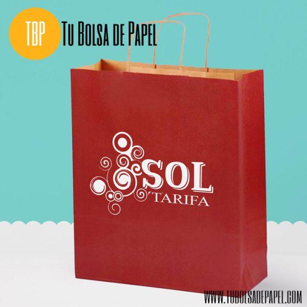 Bolsa de papel BURDEOS personalizada en blanca