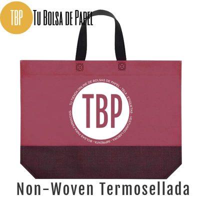 Bolsa reutilizable non woven Termosellada Bicolor rosetón y negro