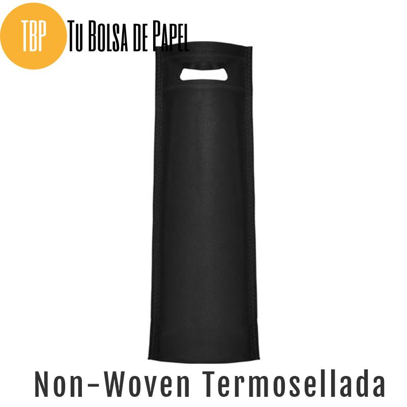 Bolsas reutilizables non woven Termosellada Negra para botellas