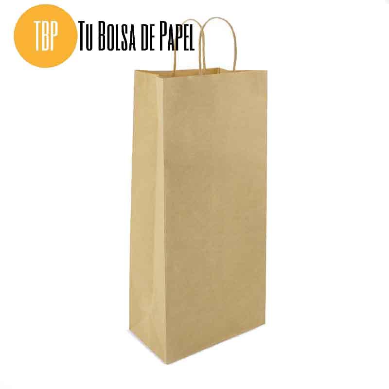 Bolsa de papel Kraft grande para dos botellas