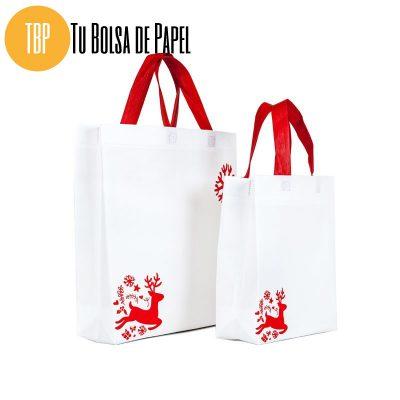 Bolsa de papel de Navidad Blancas Reno asa roja