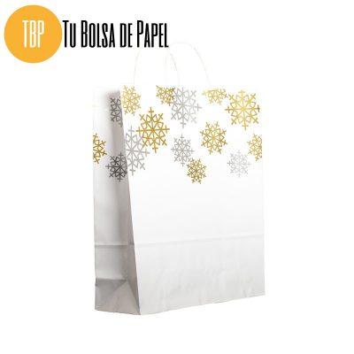 Bolsa de papel de Navidad Oro y plata Grande para comercios
