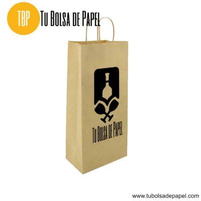 Bolsa de papel grande para dos botellas personalizada