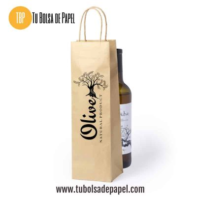 Bolsas de papel Kraft para botellas impresas