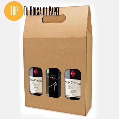 Caja de cartón para botellas triple
