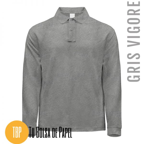 Polo Manga larga GRIS