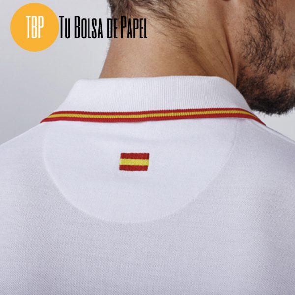 Polo bandera de españa bordado blanco Trasera