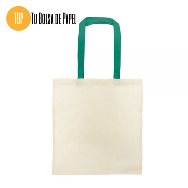 Bolsa de algodón asa verde