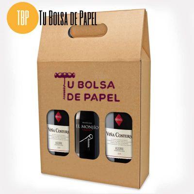 Caja para tres botellas personalizada con logo