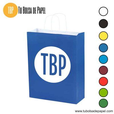 Bolsa de papel Azul impresas