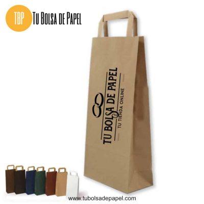 Bolsa de papel Kraft para Botellas con el asa plana