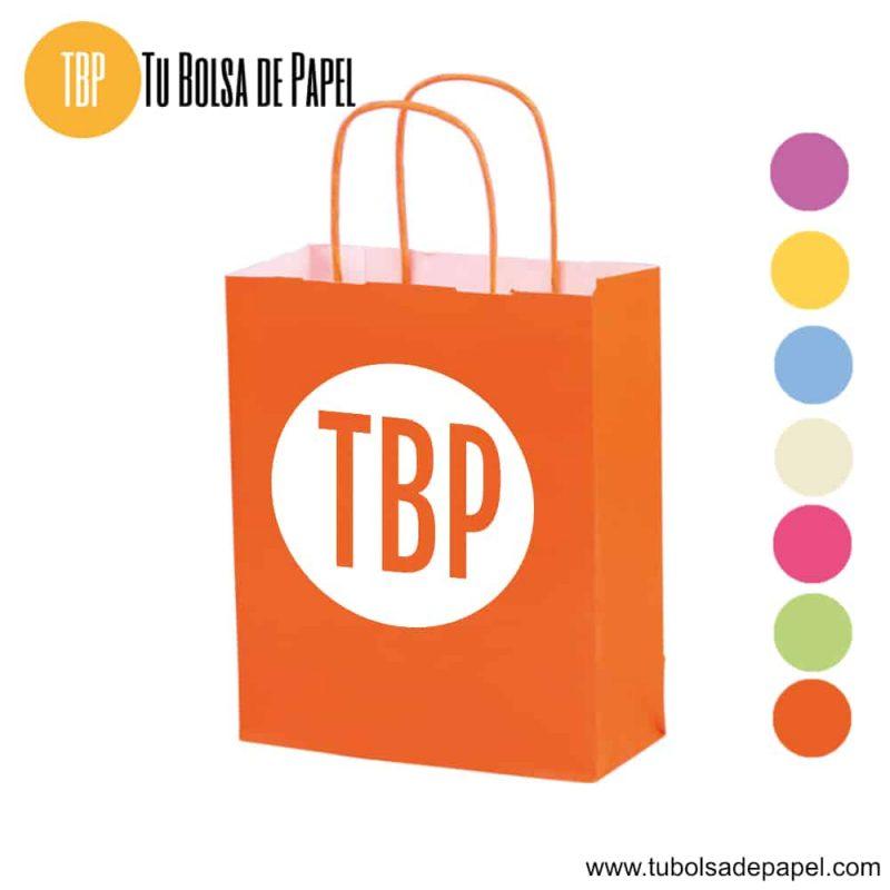 Bolsa de papel Naranja Personalizada