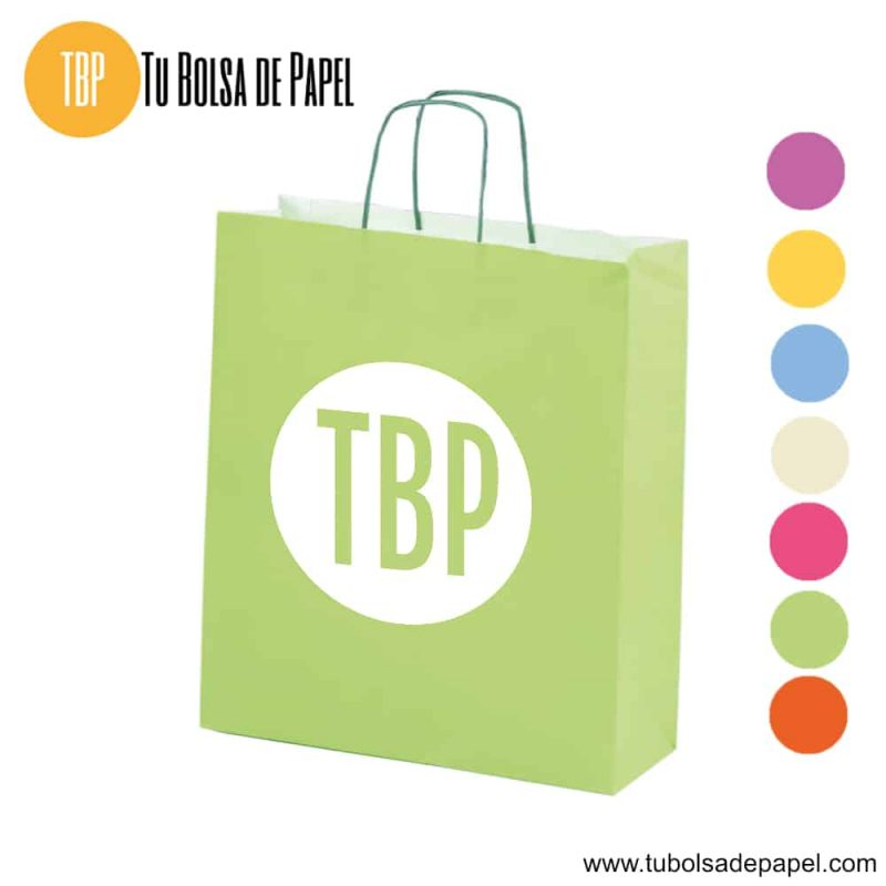 Bolsa de papel Verde Pistacho Personalizada
