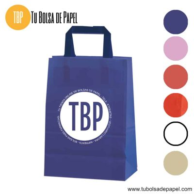 Bolsa de papel asa plana azul personalizada