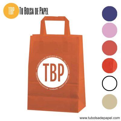 Bolsa de papel asa plana naranja personalizada