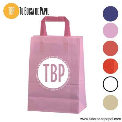 Bolsa de papel asa plana rosa personalizada