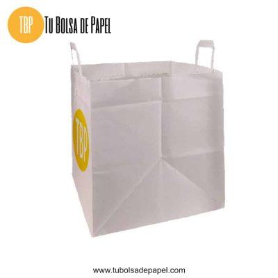 Bolsa de papel blanca base ancha impresa