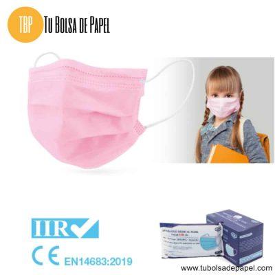 Mascarillas Médica Quirúrgica Desechable tipo IIR Infantil Rosas