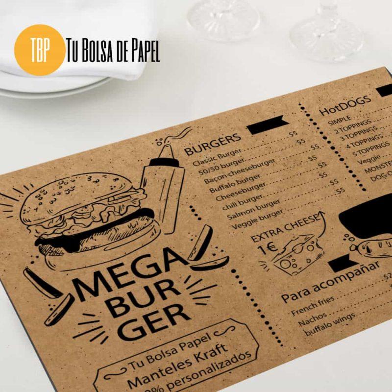 Mantel individual papel Kraft restaurante