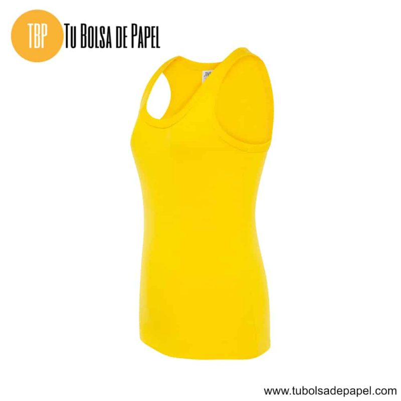Camiseta de mujer sin mangas amarilla