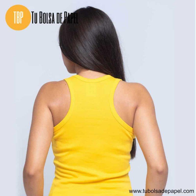 Camiseta de mujer sin mangas trasera